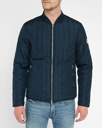 Knowledge Cotton Apparel Navy Quilted Jacket Blue