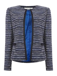 Tahari By Arthur S. Levine Asl Black Ivory And Royal Blue Striped Boucle Blazer Multi Coloured Multi Coloured