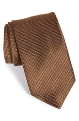 Men's David Donahue Geometric Silk Tie Chocolate