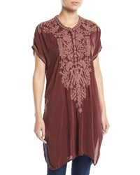 Johnny Was Lania Embroidered Long Tunic Petite Cocoa Marooon