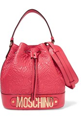 Moschino Embossed Leather Shoulder Bag Red