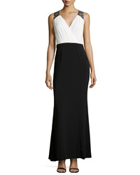 Laundry By Shelli Segal Embellished Shoulder Pleated Gown Black Warm White