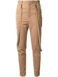 G.V.G.V. Strap Detail High Waisted Trousers Brown