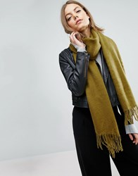 Asos Supersoft Long Woven Scarf With Tassels Khaki Green