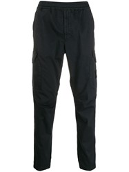 Stone Island Casual Trousers With Logo Patch Blue