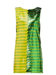 Halpern Striped Sequinned Mini Dress Green Print