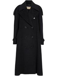 Burberry Wool Cashmere Double Breasted Coat Black