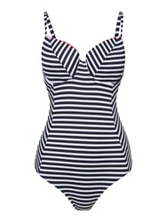 Dickins And Jones Stripe Contrast Frill Uw Swimsuit Navy White Navy And White