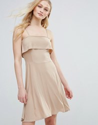 Daisy Street Ruffle Top Fit And Flare Dress Nude Cream