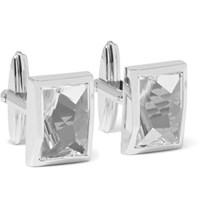 Lanvin Rhodium Plated Crystal Cufflinks White