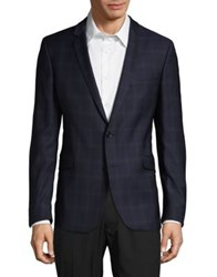 Strellson Soft Check Wool Suit Jacket Navy