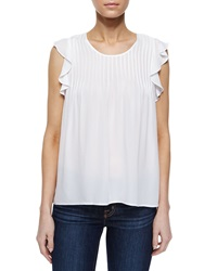Madison Marcus Flutter Sleeve Pleated Blouse White