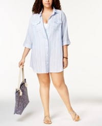 Dotti Plus Size Cotton Striped Chambray Shirtdress Cover Up Women's Swimsuit Blue White