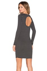 Chaser Striped Open Back Long Sleeve Dress Black