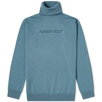 Ambush Embossed Logo Knit Turtleneck Blue