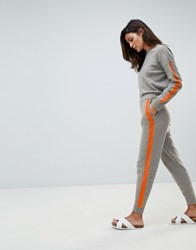 Micha Lounge Relaxed Joggers With Contrast Stripe Detail Co Ord Grey Orange