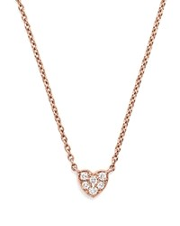 Bloomingdale's Mini Diamond Heart Pendant Necklace In 14K Rose Gold .07 Ct. T.W. White Rose