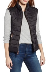 Marc New York Faux Leather Trim Quilted Vest Black