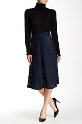 David Lerner Lace Midi Skirt Blue