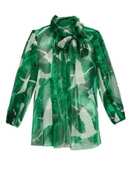 Dolce And Gabbana Banana Leaf Print Silk Chiffon Blouse Green Multi
