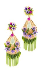 Mercedes Salazar Artes Fiesta Flor Morado Clip On Earrings Purple Multi