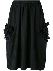 Comme Des Garcons 3D Flower Applique Skirt Women Polyester M Black