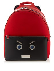 Fendi No Words Leather Trimmed Backpack Red Multi
