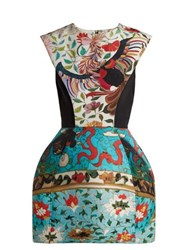 Mary Katrantzou Rooster Floral Print Dress Blue Multi