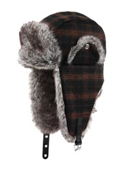 Dents Mens Check Trapper Hat Chocolate