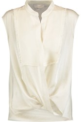 3.1 Phillip Lim Wrap Effect Draped Silk Chiffon Blouse Cream