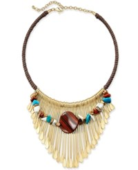 Macy's Gold Tone Braided Cord Multi Stone Statement Necklace