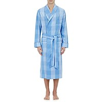Barneys New York Men's Piped Checked Robe Blue