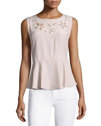 Rebecca Taylor Floral Embroidered Sleeveless Silk Top Pink