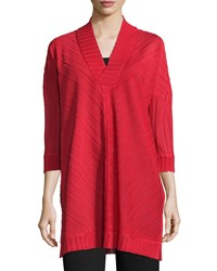Misook Ribbed 3 4 Sleeve V Neck Tunic Classic Red