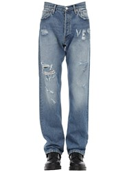 Vetements Logo Distressed Cotton Denim Jeans Blue