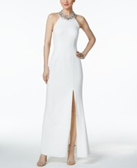 Adrianna Papell Beaded Column Gown White