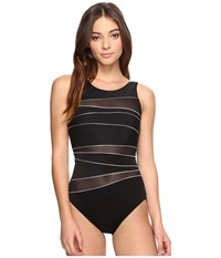 Miraclesuit Silver Streak Somerset One Piece Black Silver Women's Swimsuits One Piece