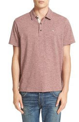 Rag And Bone Men's Standard Issue Regular Fit Slub Cotton Polo Pink