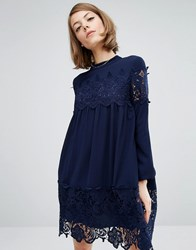 Fashion Union Smock Dress With Lace Inserts Navy