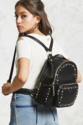 Forever 21 Studded Faux Leather Backpack Black