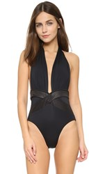 Oye Swimwear Roman Plunge Neck One Piece Black