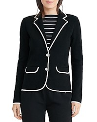 Ralph Lauren Color Block Knit Blazer Polo Black Herbal Milk