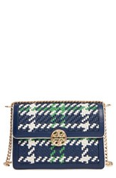 Tory Burch Duet Woven Leather Shoulder Bag Blue Royal Nvy Crt Green New Ivry