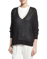 Brunello Cucinelli Knit V Neck Monili Trim Sweater Black