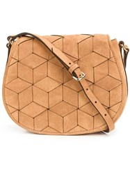 Welden Hexagon Pattern Crossbody Bag Brown