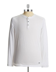 Dkny Thermal Accented Henley Shirt White