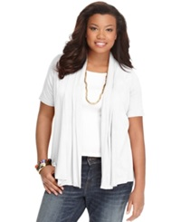 Ing Plus Size Short Sleeve Open Front Cardigan White