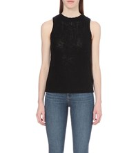 Whistles Sleeveless Knitted Cotton And Linen Blend Top Black