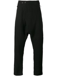 Lost And Found Rooms Drop Crotch Trousers Men Cotton Hemp S Black