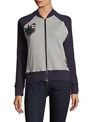 Saks Fifth Avenue Red Embroidered Long Sleeve Bomber Jacket Heather Grey